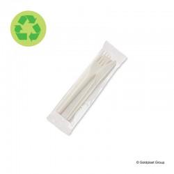 Hygienicky balený příbory, kompostovatelný, vidlička, nožík a ubrousků - eko nádobí