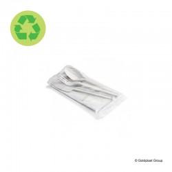 Příbor, lžíce, vidlička, nožík a ubrousků, kompostovatelný, hygienicky balený, eko nádobí