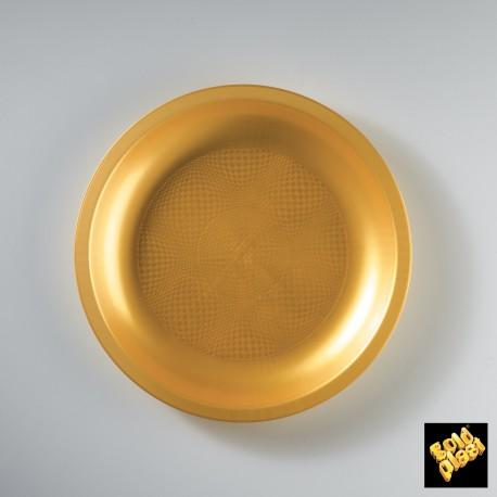 Plastový mělký talíř, kulatý Ø 220mm zlatý