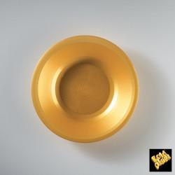 Plastový hluboký talíř, kulatý Ø 195mm zlatý, Gold Plast