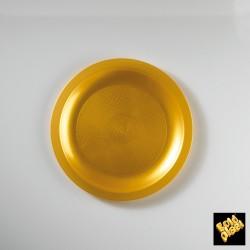 Plastový talíř na dezert Ø 185mm zlatý, Gold Plast