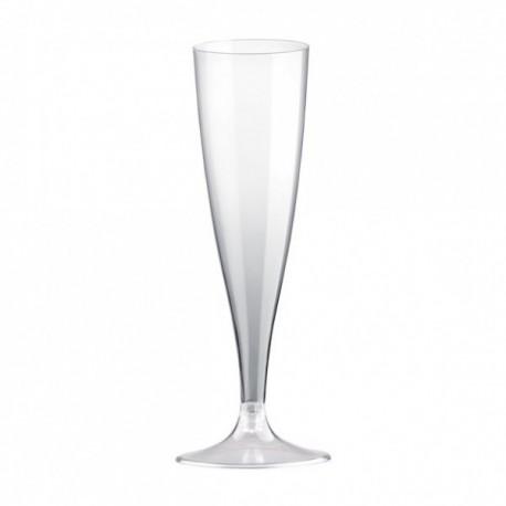 Plastový pohár na sekt 100ks - s transparentní stopkou