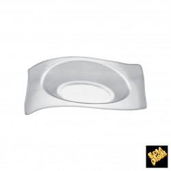 Plastový Finger food mini talířek FLAT - 80mm, transparentní